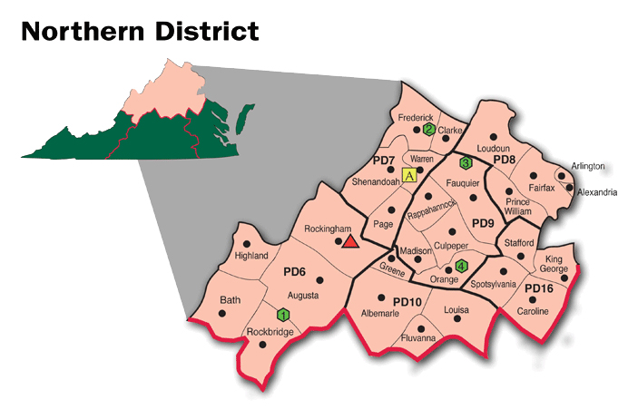 Map of the Northern District of Virginia Cooperative Extension.