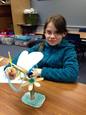 4-H butterfly club member engineered her own butterfly out of recycled products.
