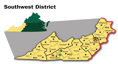 Map of the Southwest District of Virginia Cooperative Extension.