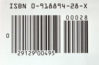 Close-up of a UPC bar code