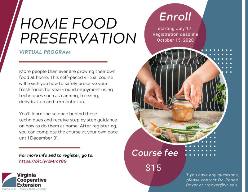 home food preservation advertisement with enrollment information and pair of hands closing jar lid